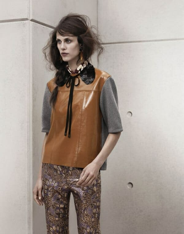 leather top silk trousers Marni for H&M