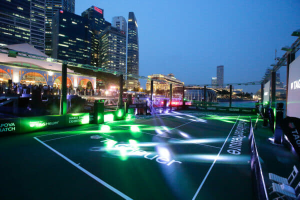 SINGAPORE - OCTOBER 22: A general view of the Singapore's first ever floating tennis platform built by Tag Heuer ahead of the WTA Finals at Clifford Pier, Fullerton Bay Hotel on October 22, 2015 in Singapore. (Photo by Suhaimi Abdullah/Getty Images For TAG Heuer)