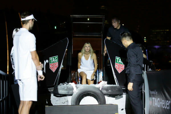 SINGAPORE - OCTOBER 22: Maria Sharapova (C) arrives by boat during the Maria Sharapova Exhibition Match at Clifford Pier, Fullerton Bay Hotel on October 22, 2015 in Singapore. (Photo by Suhaimi Abdullah/Getty Images For TAG Heuer) *** Local Caption *** Maria Sharapova