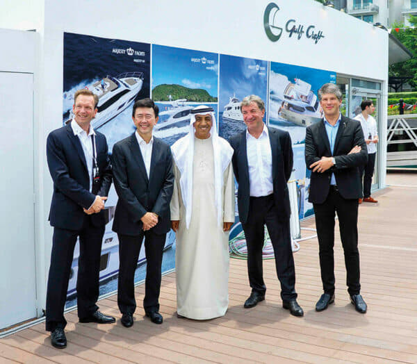Mohammed Hussein Al Shaali, Chairman of Gulf Craft and Erwin Bamos, CEO of Gulf Craft, at the opening of the Singapore Yacht Show