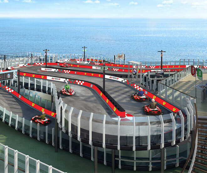 The Norwegian Joy features the inaugural Ferrari-branded racetrack at sea. Image courtesy of Norwegian Cruise Line