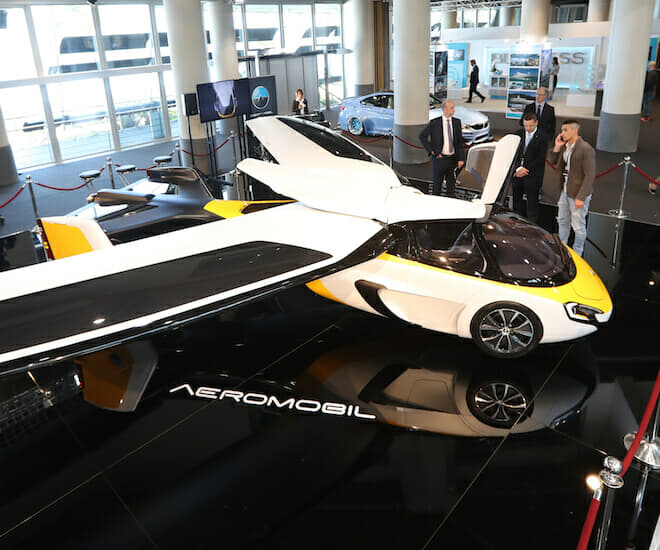 """The Aeromobil, a flying supercar is on display as part of the """"Top Marques"""" show, dedicated to exclusive luxury goods, on April 20, 2017 in Monaco. © Valery Hache / AFP"""