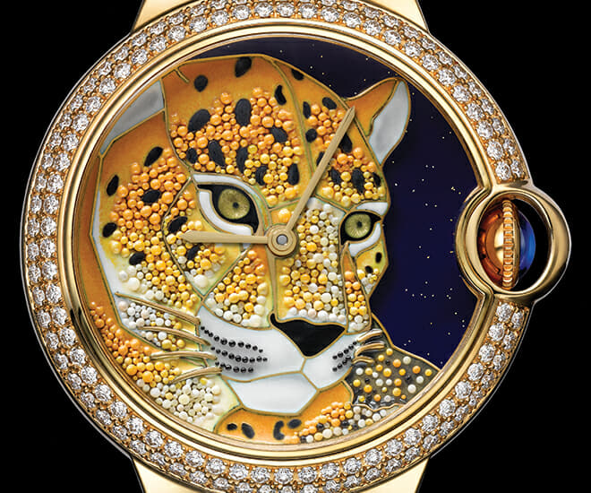 The Rotonde de Cartier Panthere Granulation uses gold granulation to create the motif of a panther's head on its dial