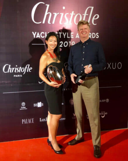 Hwee Tiah and Jean-Marc Poullet of Burgess collected the Best Asia-Based Brokerage Company (International) prize at the 2019 Christofle Yacht Style Awards: Chapter One in Phuket