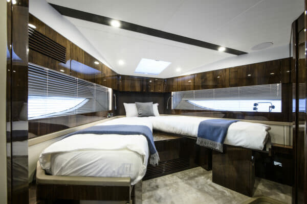 The VIP bow cabin has great storage and natural light, and scissor-action berths