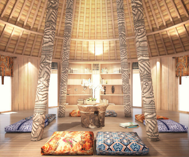 A rendering of the interior of the Dunia Baru Learning Center