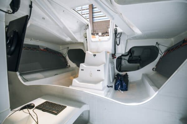 The interior below decks is spartan – very spartan – and shows the harsh reality of offshore racing; Photo: Jean-Baptiste d'Enquin / Beneteau