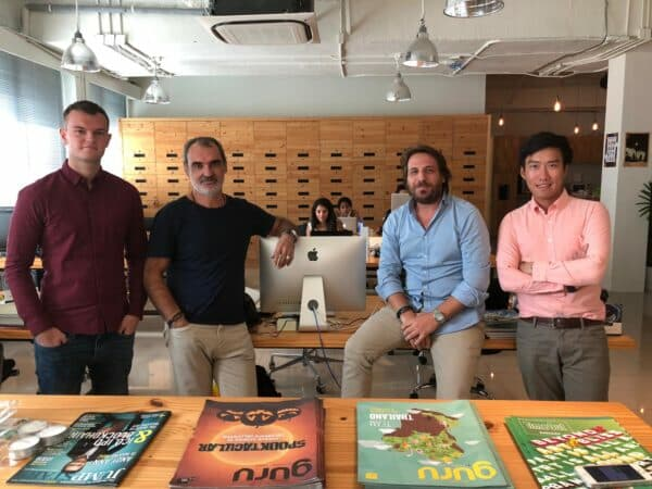 Michael Buurmeijer, Eric Fromento, Anthony Brisacq and Boom in Yachtside Asia's Bangkok office