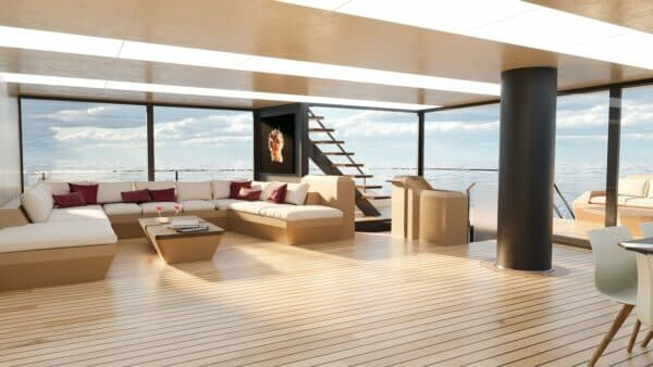 The saloon is on the main deck along with five guest cabins