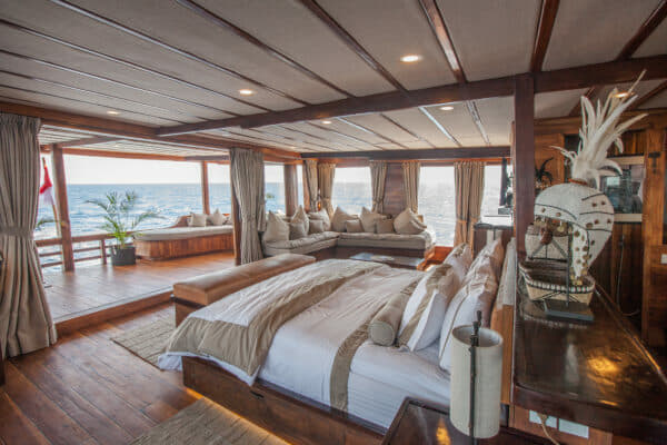 Arguably the yacht's flagship room, the Batavia master suite and its private terrace are situated at the aft end of the upper deck