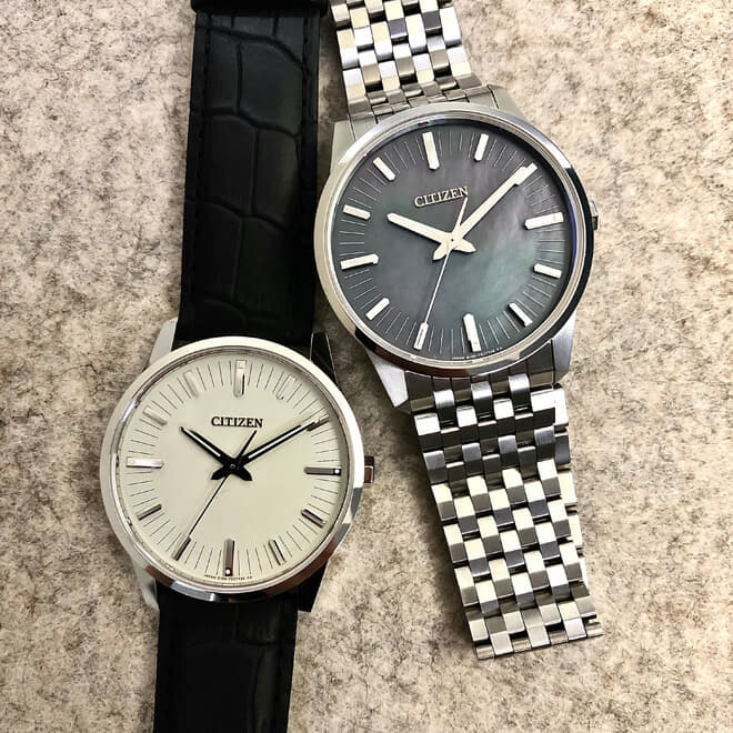 Left: White gold Caliber 0100 with crocodile strap. Right: Super TitaniumTM with Duratect Caliber 0100 with mother of pearl dial
