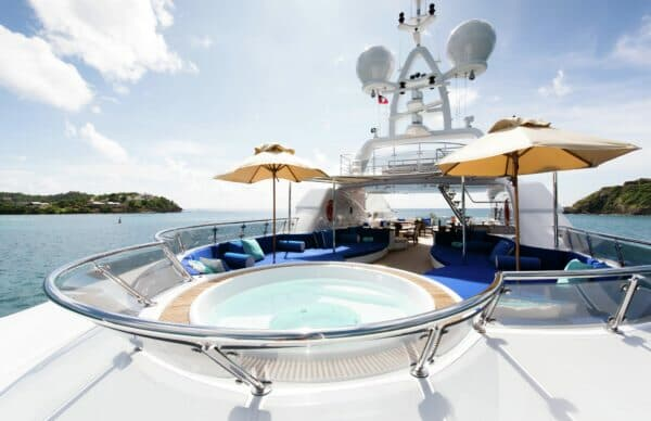 The sundeck of Talisman Maiton, listed for charter under Burgess