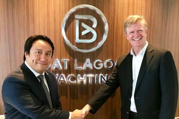 Vrit Yongsakul (left) of Boat Lagoon Yachting with Jean-Marc Poullet of Burgess