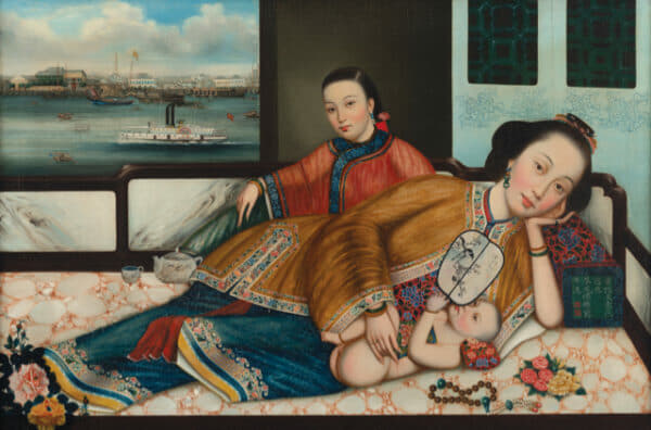 Artefacts from the 'The Dragon and The Eagle: American Traders in China' exhibition included an oil painting of a mother and child with a view of the Canton waterfront