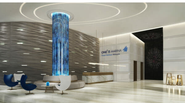 A rendering of the lobby at the marina, a JV between between Singapore-listed SUTL Enterprise and Malaysia's UEM Sunrise