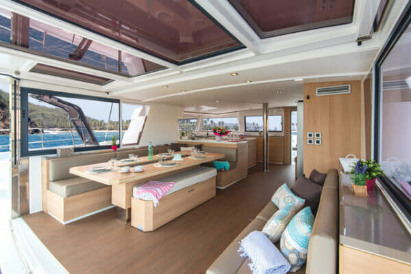 The Bali 5.4 Open Space features fold-up aft doors and an enormous covered, open-plan living area