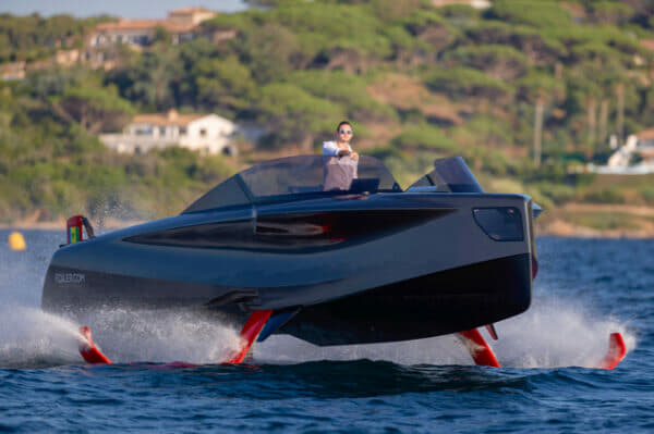 Foiler, 'The Flying Yacht' built by Enata in the UAE, cruises in Saint-Tropez