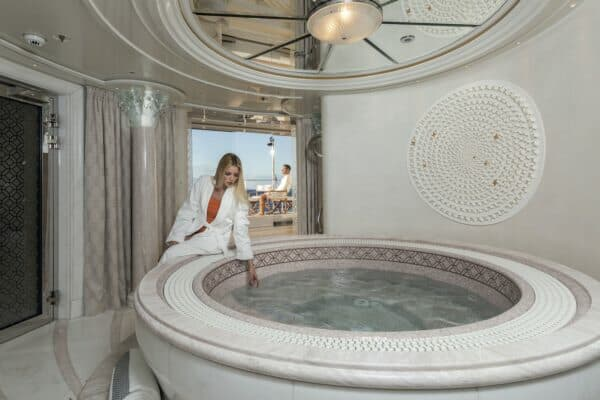The spa with its shell motifs and the beach club are meant for a lengthy sojourn