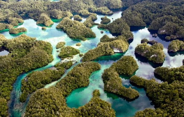 Pristine lagoons wind through the limestone islands of Raja Ampat; © Conservation-International photo by Sterling Zumbrunn