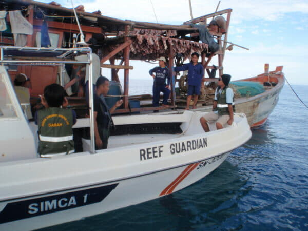 Detaining a foreign vessel found to have conducted illegal fishing targeting sharks and rays within the marine conservation area
