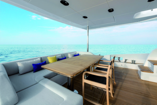 The aft cockpit offers a popular dining option