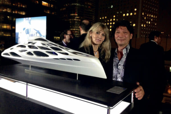 Edwin and wife Edith at SEVVA in Prince's Building, where he helped designer Zaha Hadid introduce a new superyacht concept