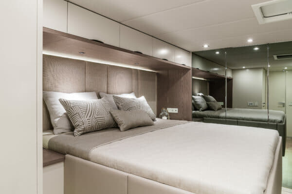 The master suite is in the port hull, with a double bed facing the window