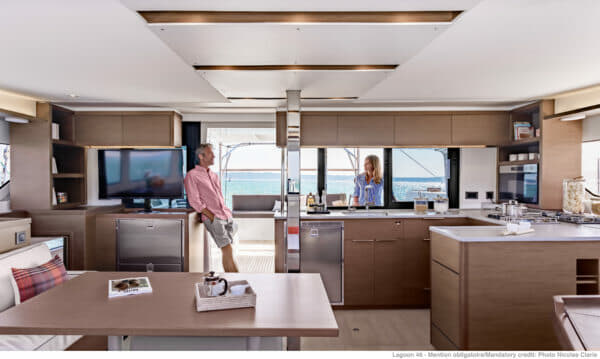 Fantastic living space is the reason cruising catamarans sell so well, as seen here on the Lagoon 46 unveiled in 2019