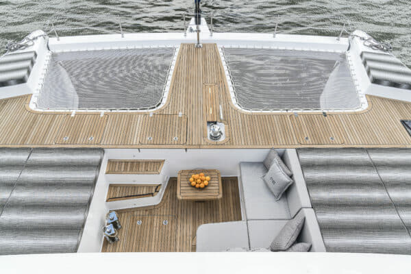 The 60 is the smallest Sunreef yet to have a bow terrace, with an L-shaped settee to starboard flanked by two double sunpads (photo from Feel The Blue)