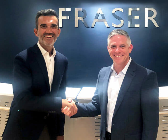 Raphael Sauleau, CEO of Fraser, with W. Brett McGill, CEO and President of MarineMax