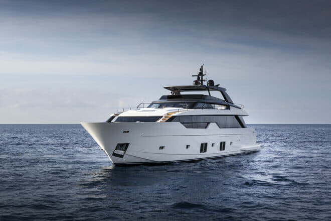 The Sanlorenzo SL102 Asymmetric was premiered at the 2018 Cannes Yachting Festival