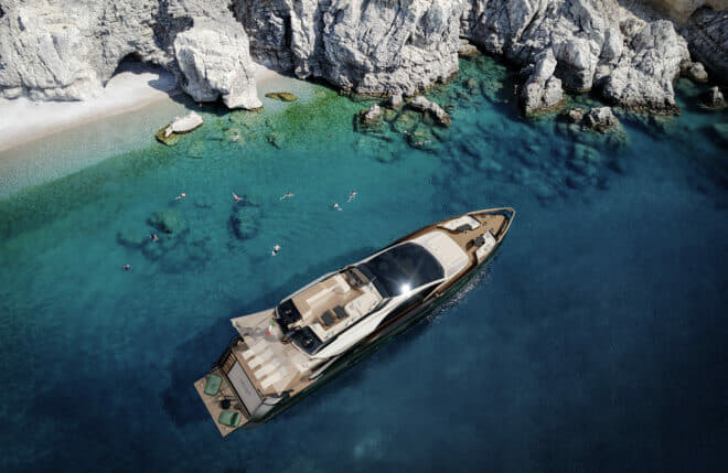 The Grande S10 marks the first time Azimut has worked with exterior designer Alberto Mancini