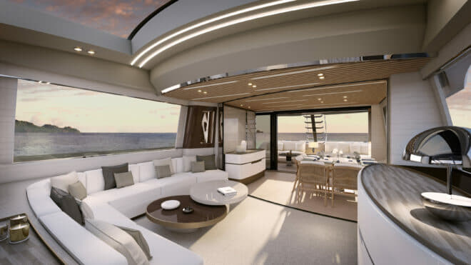 Francesco Guida handled the interior of a yacht that has sports features but also has a flybridge and onboard spaces typical of a big motoryacht