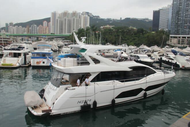 Lai's new Sunseeker 76 Yacht is an upgrade from his previous Sunseeker, a Manhattan 55, also named Tory