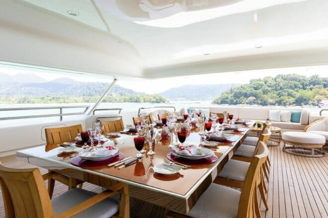 Dining on a superyacht is among life's more pleasant experiences; Photo: Burgess