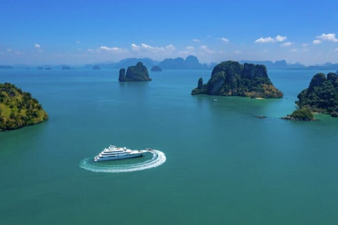 Lady E, the 68m Amels, offered a luxurious charter option in Thailand; Photo: Burgess