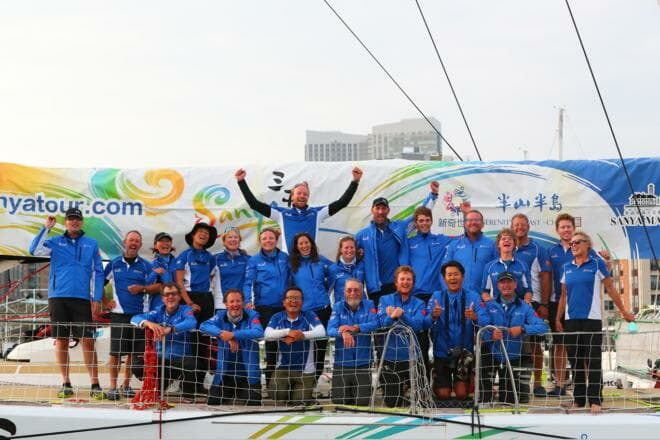 Zhang (bottom row, second right) and the crew of Sanya Serenity Coast, winners of the Clipper 2017-18 Race as the Hainan Island city made its event debut