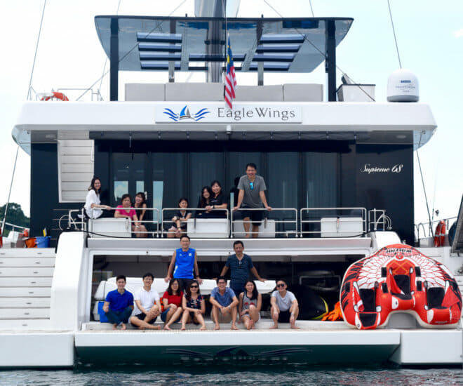 Sunreef Eagle Wings Yacht Charter guests ONE 15
