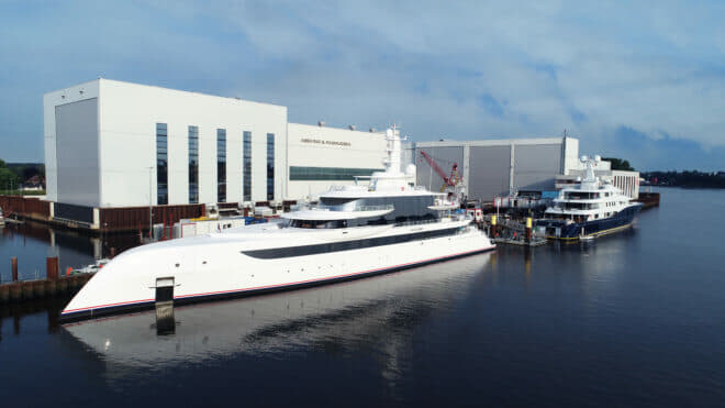 The 80m Excellence following her launch at the Abeking & Rasmussen shipyard in Lemwerder, northwest of Bremen, where she's pictured with the newly extended C2