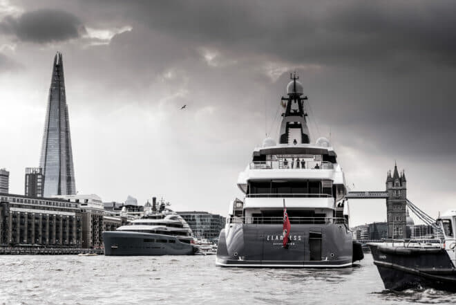 Ahead of her world premiere at last year's Monaco yacht Show, Elandess (right) passed Aviva on the River Thames