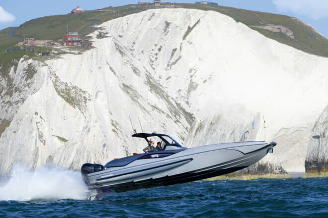 The Hawk 38 is Sunseeker's fastest boat since the XS 2000, which also had a hull by the late Fabio Buzzi, the legendary powerboat racer, record holder and designer