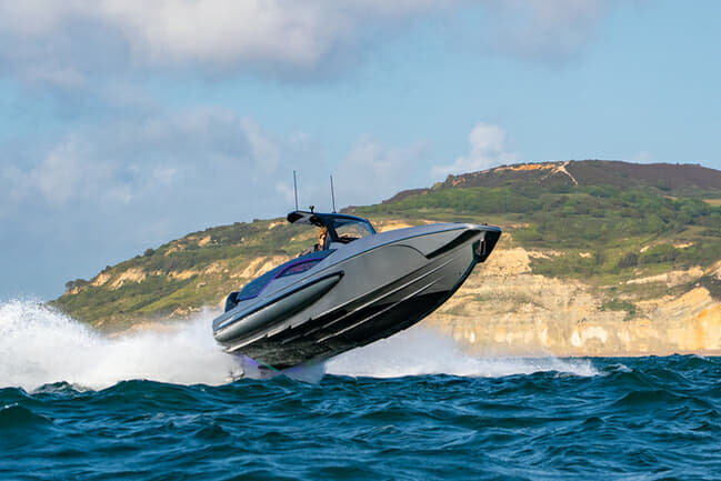 The Hawk 38 frequently flies off the waves, but the foam-cored hull provides comfortable landings