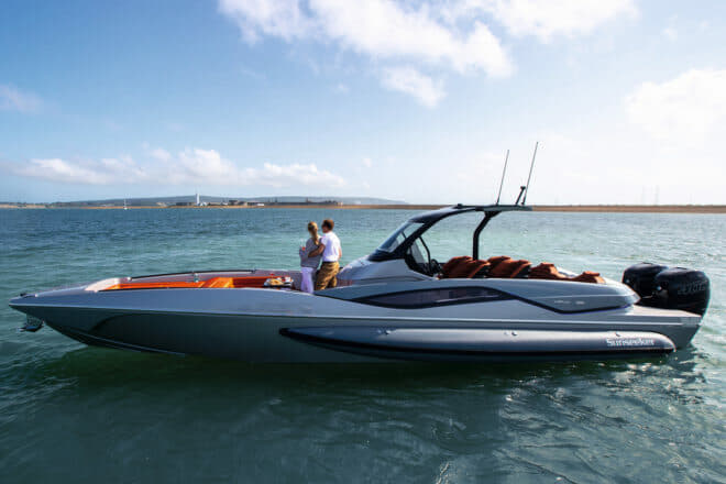 The Hawk 38 is suitable as a dayboat, with C-shaped seating, sunpads, pop-up table, storage for toys, audio system and swim ladder, and optional foredeck canopy