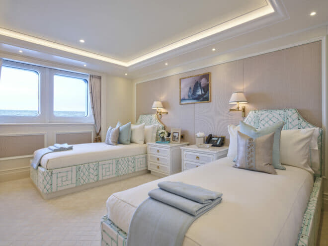 Shown here in its double-bed layout for possibly younger guests, the China Seas Suite has the sailing junk as its focal point, and there are other subtle oriental touches