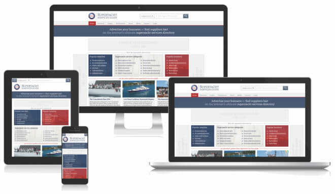 The online platforms for the Superyacht Services Guide, 'The Ultimate Superyacht Directory'