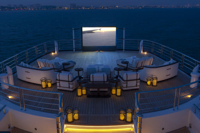 Al fresco aspects include casual bars, swimming pools and cinemas (pictured)