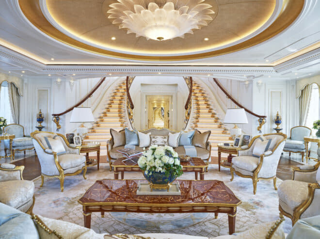 Sumptuous living areas reflect the style of the magnificent Versailles Palace in Paris