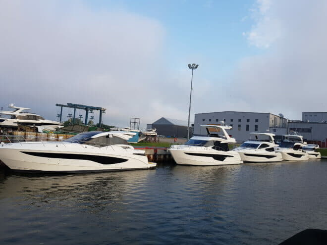 Galeon's riverside facility has a marina and is the larger of its two production sites
