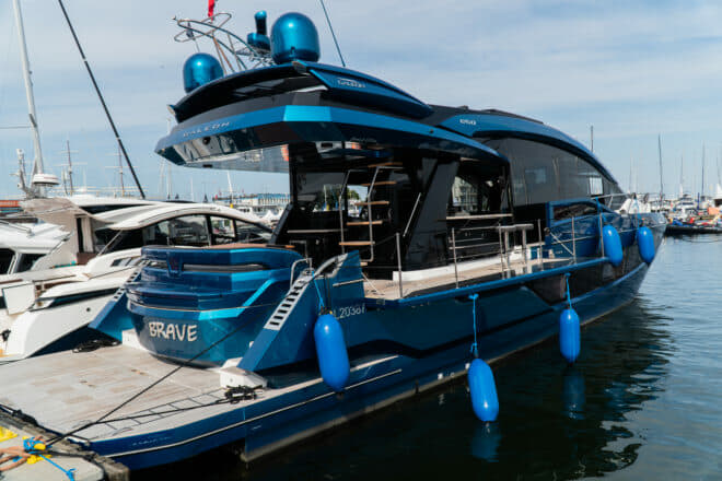 A Galeon 650 Fly takes pride of place in this year's Wind and Water show in Gdynia
