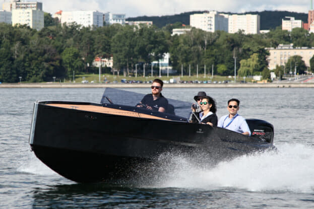 The sleek Diamond 550, pictured in Gdynia, Poland, was a late addition to this year's Monaco Yacht Show